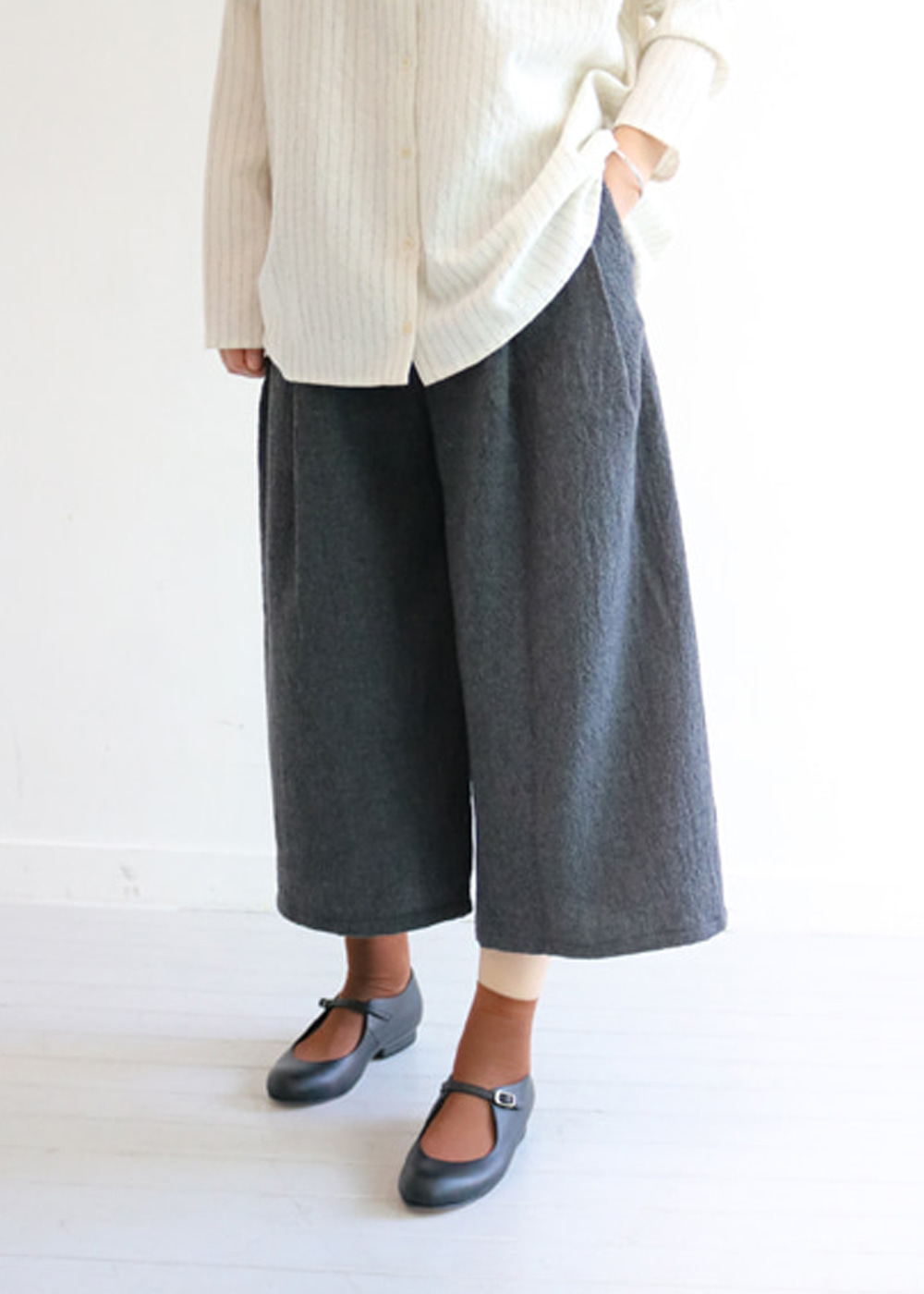 WOOL TROUSERS - cemento