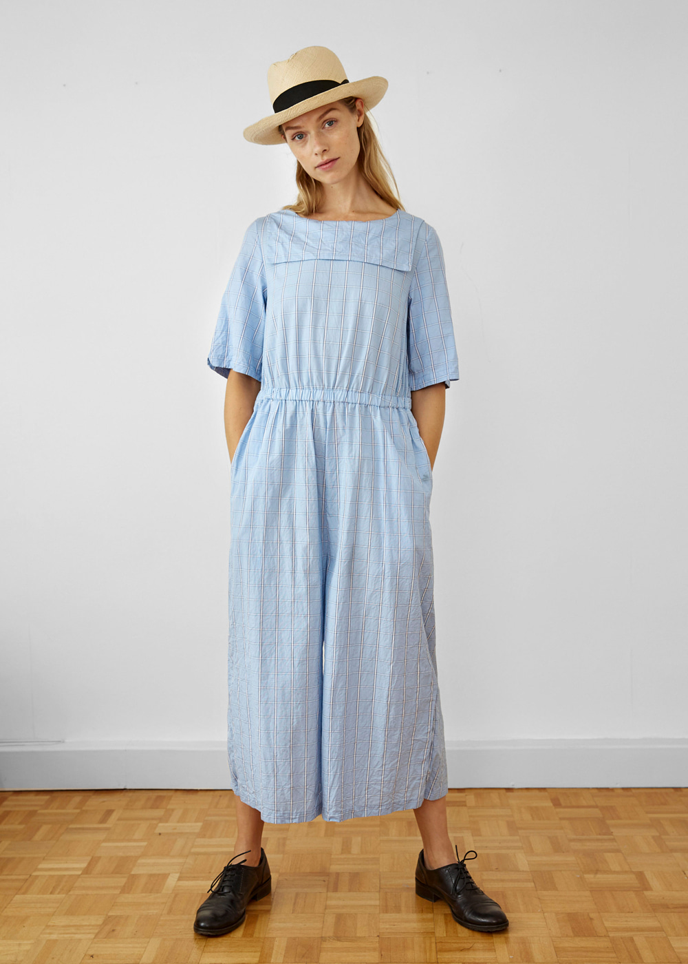 BACKWARD SAILOR COTTON CHECK JUMPSUIT