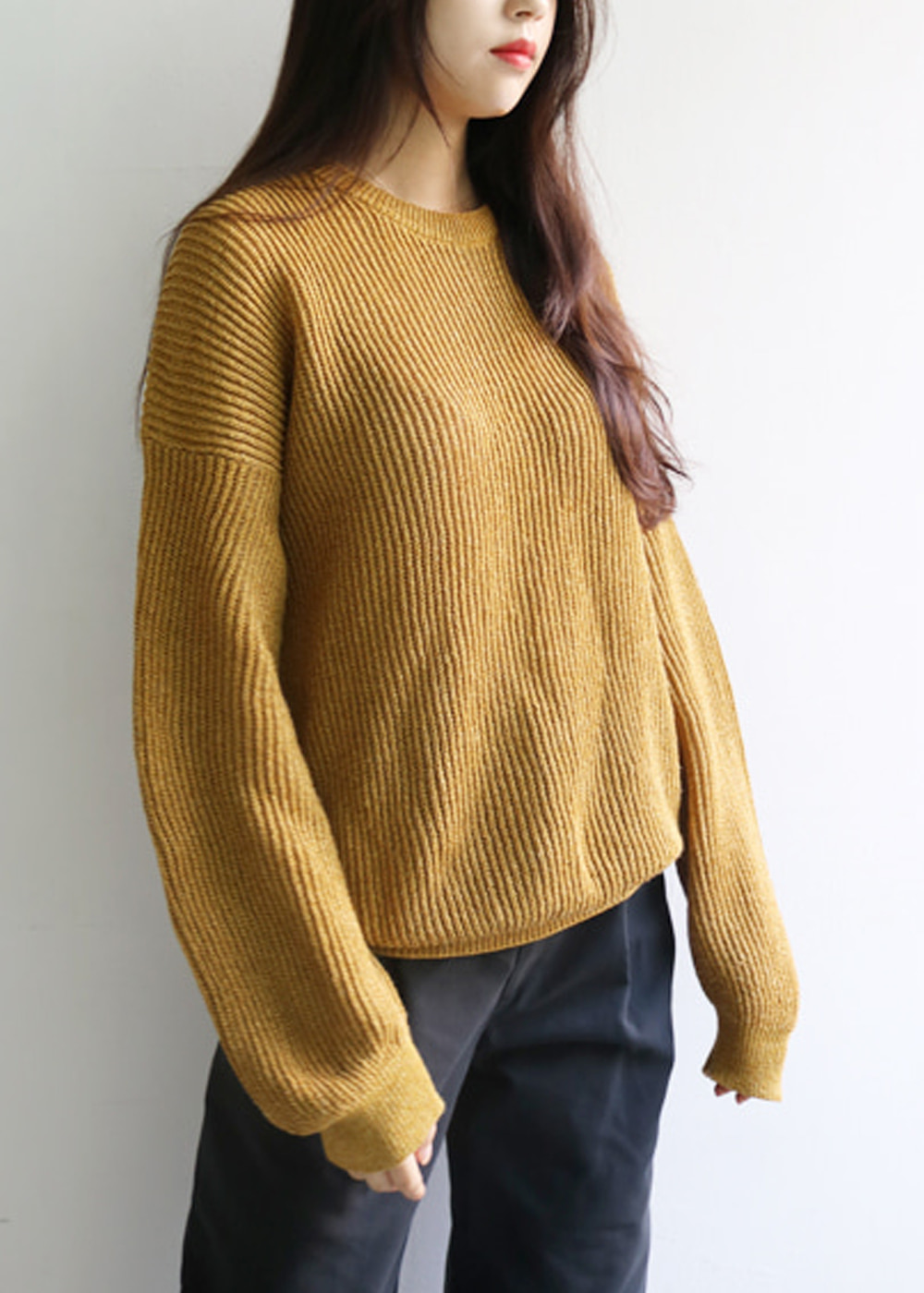 PAPER WITH 1 YARN SWEATER KNIT - mustard