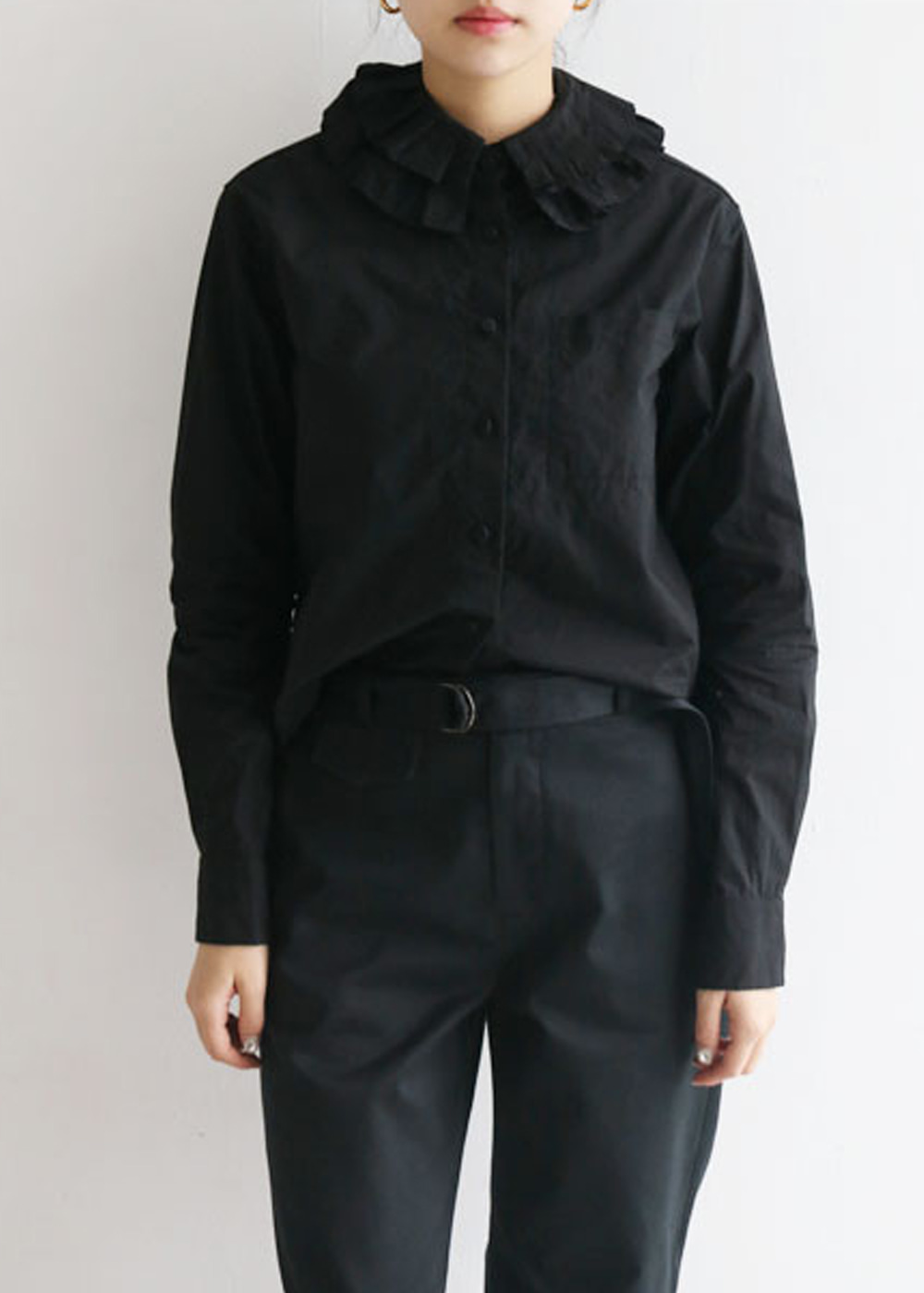 TYPEWRITER DETACHABLE PLEATED COLLAR SHIRT