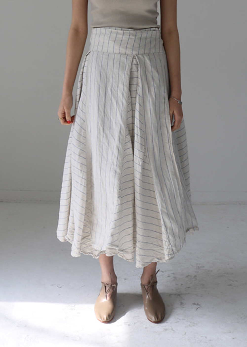 TT Stripe linen Skirt