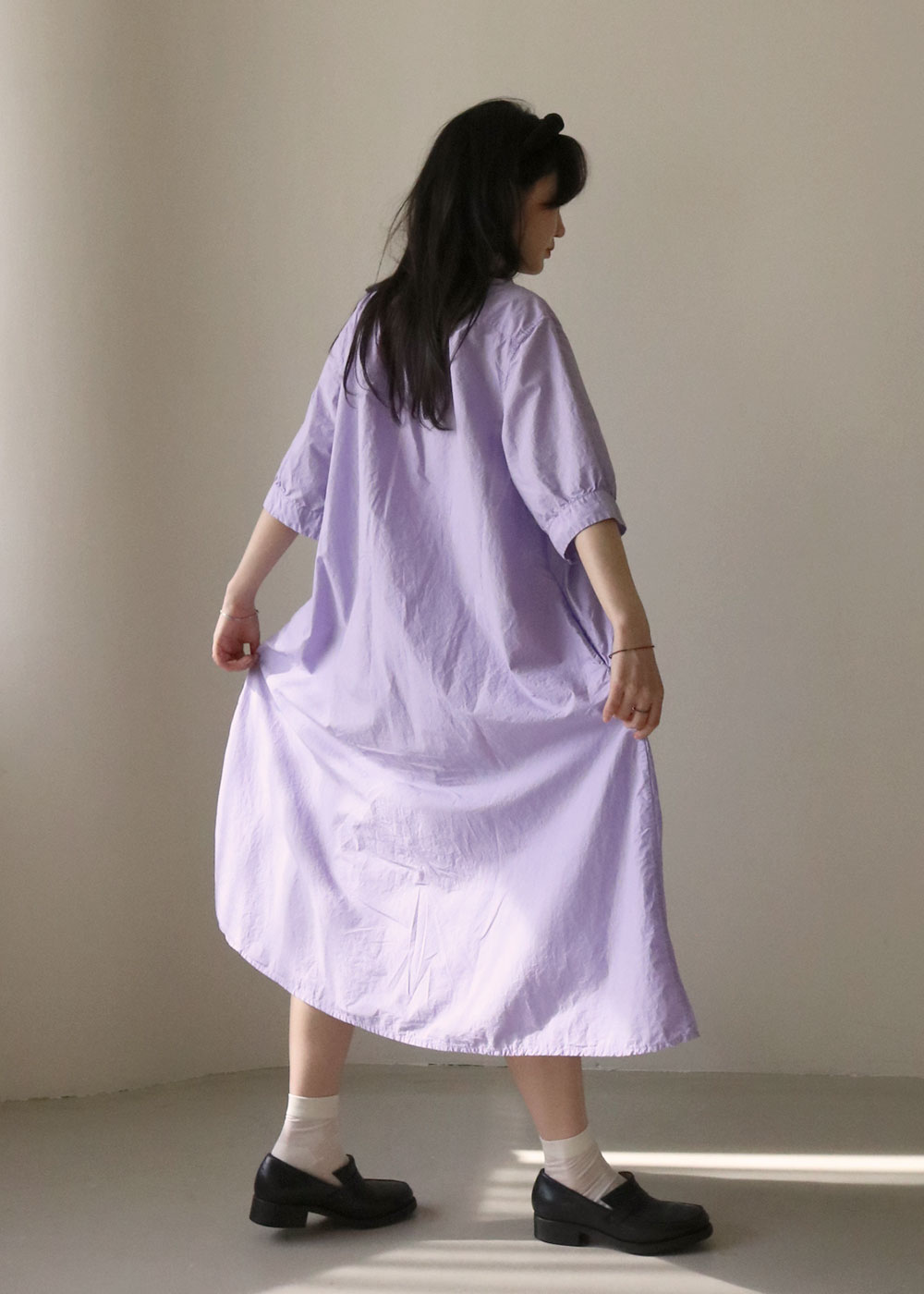 TYROL V COLLAR DRESS - viola
