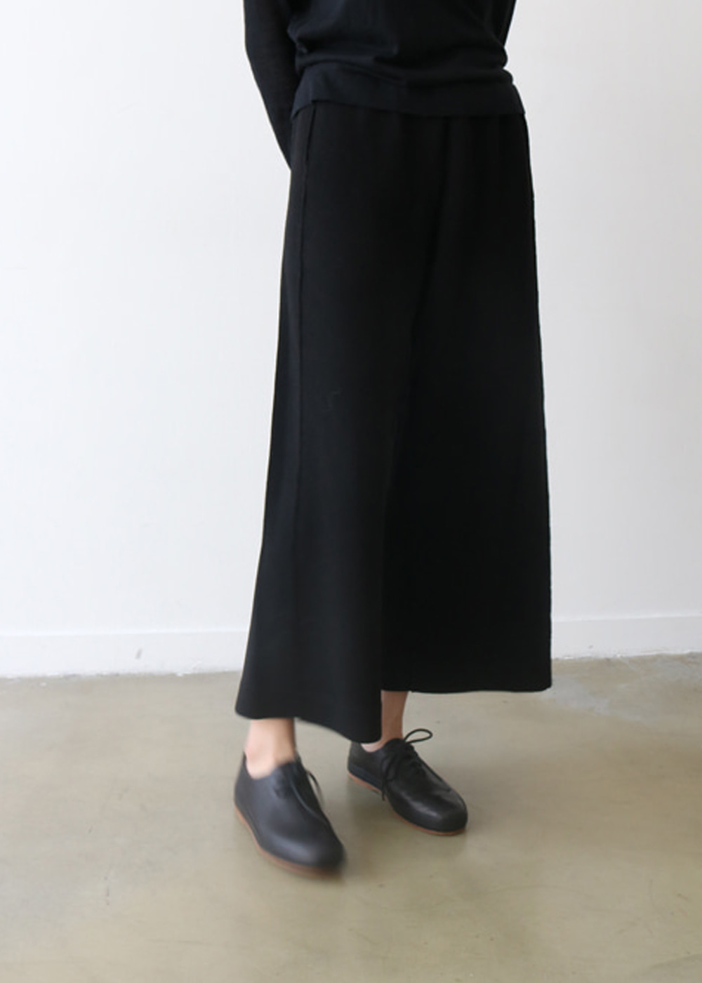 COTTON KNIT WIDE LEG TROUSERS