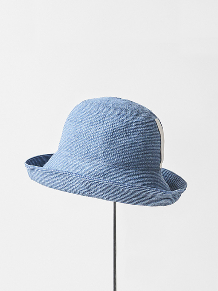 PAPER LINEN BRAID DENIM HAT WIDE - wash blue