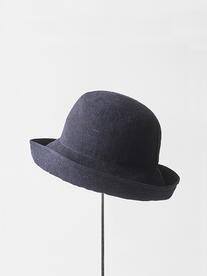 PAPER LINEN BRAID DENIM HAT WIDE - indigo