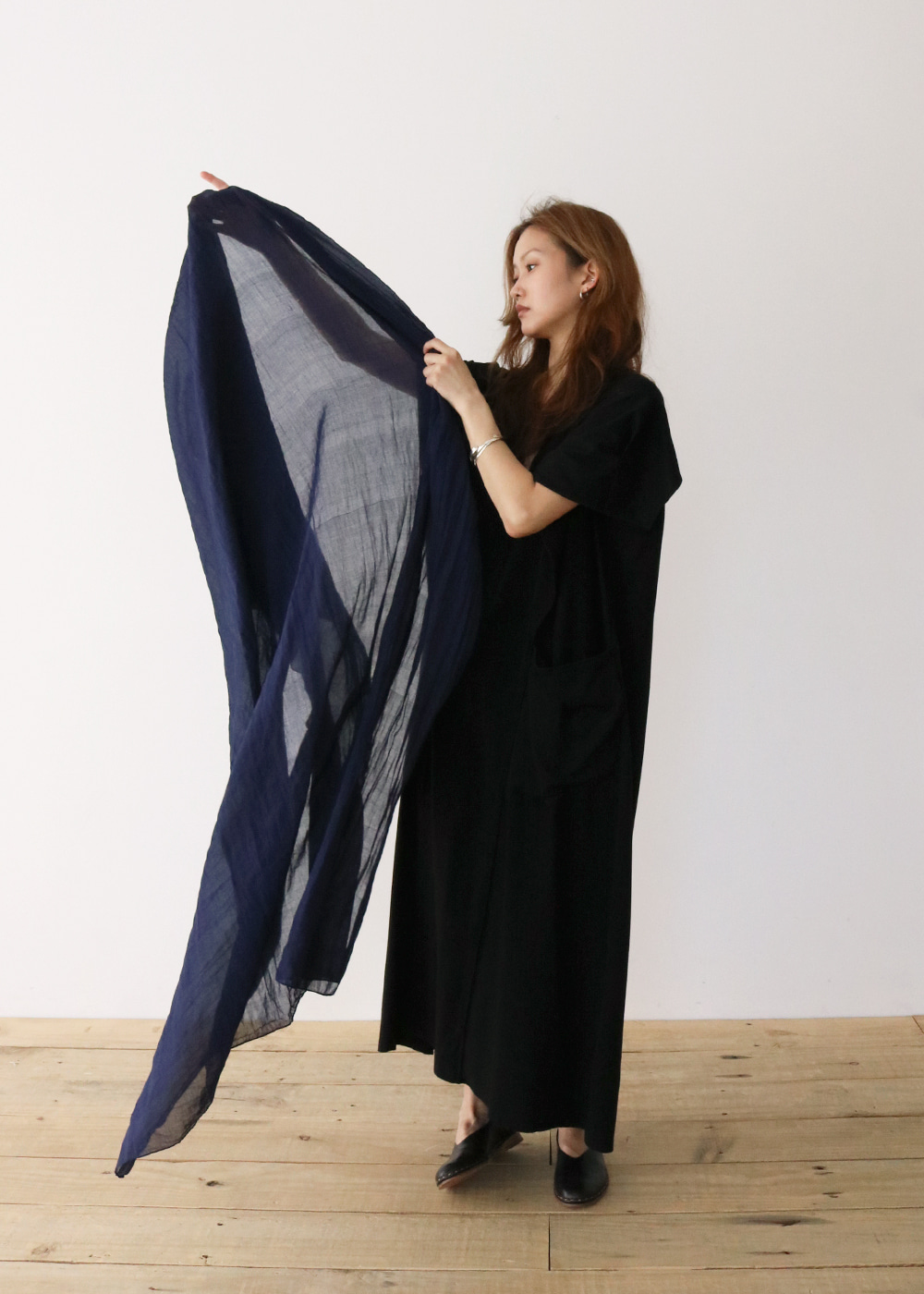 COTTON / INDIAN SARI STOLE - navy