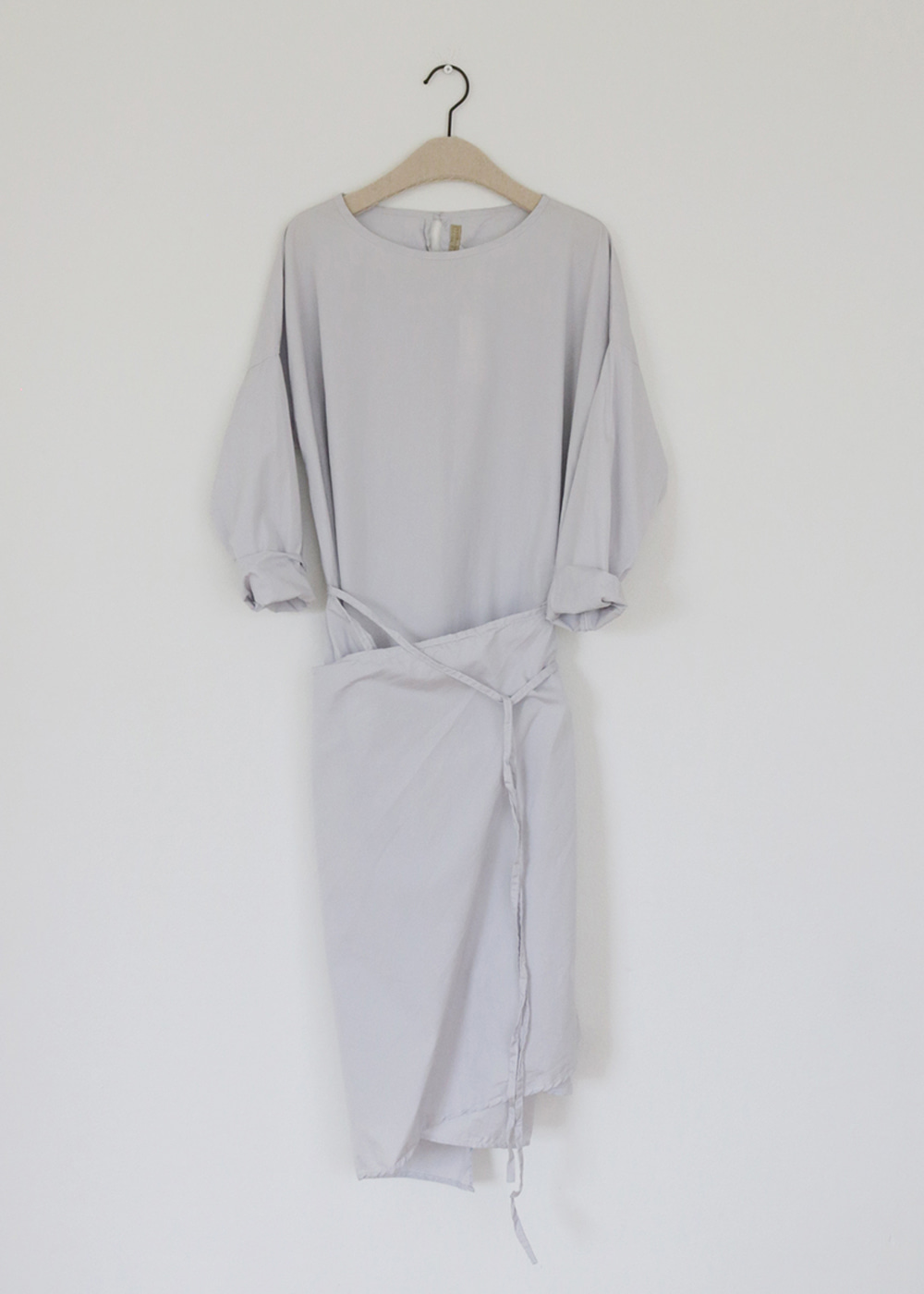 LONG SLEEVE APRON WRAP DRESS