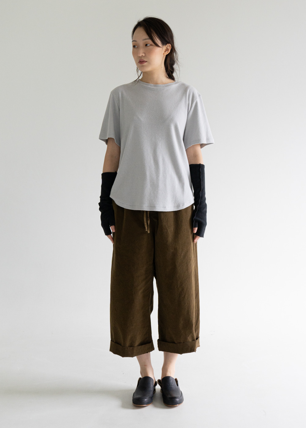 VELVET WIDE & SHORT TROUSERS - caramel