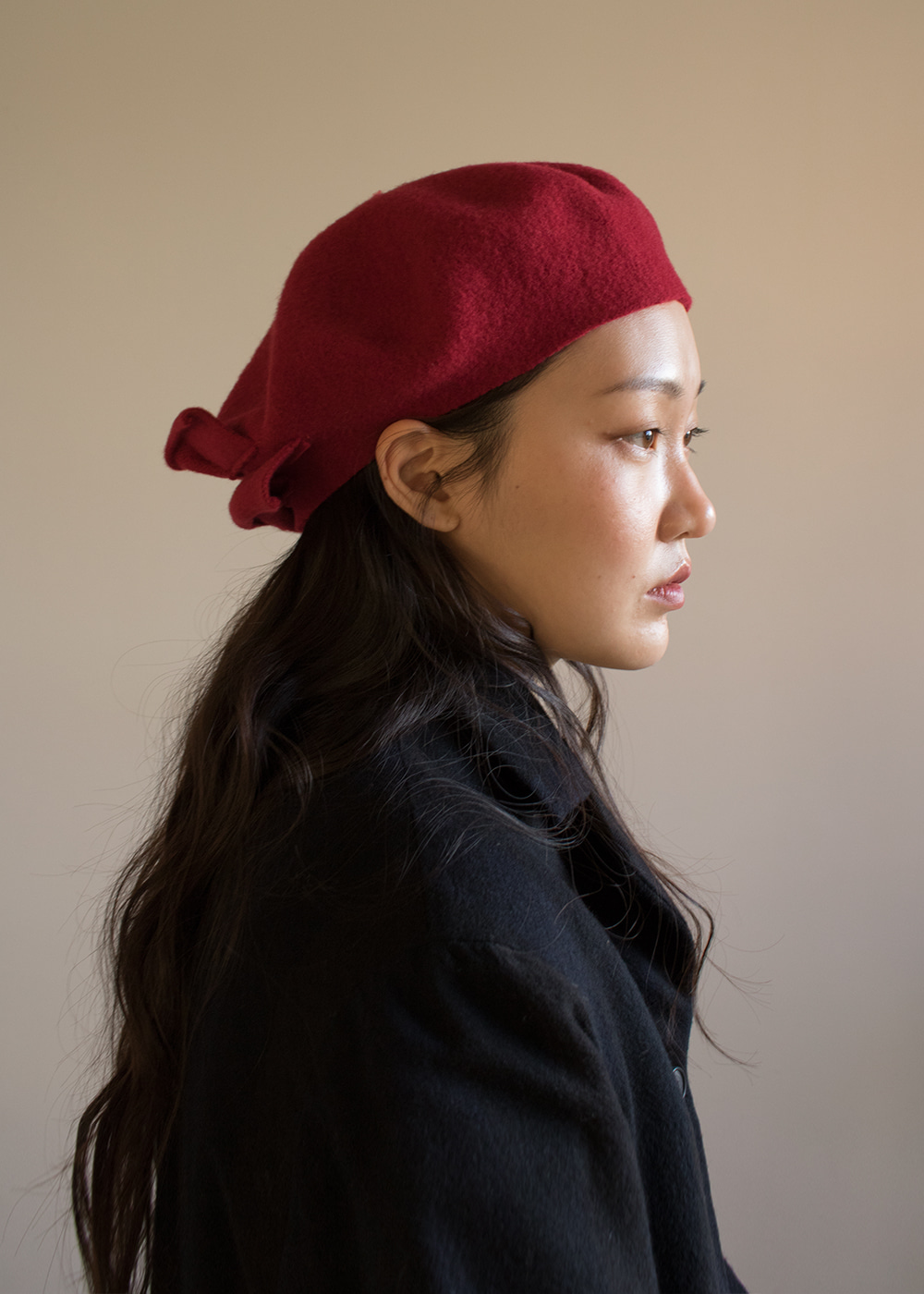 CROWN BERET - dark red