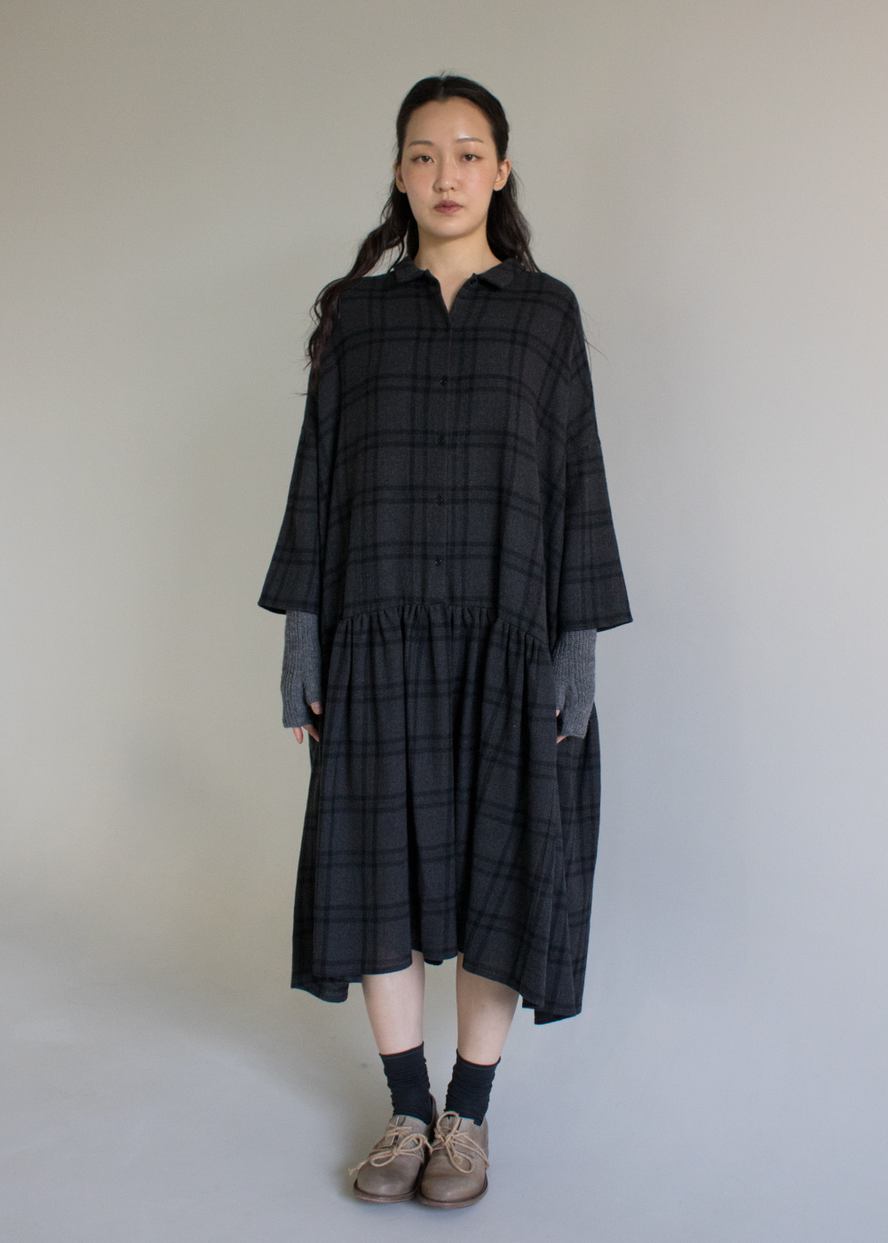 WOOL CHECK DRESS