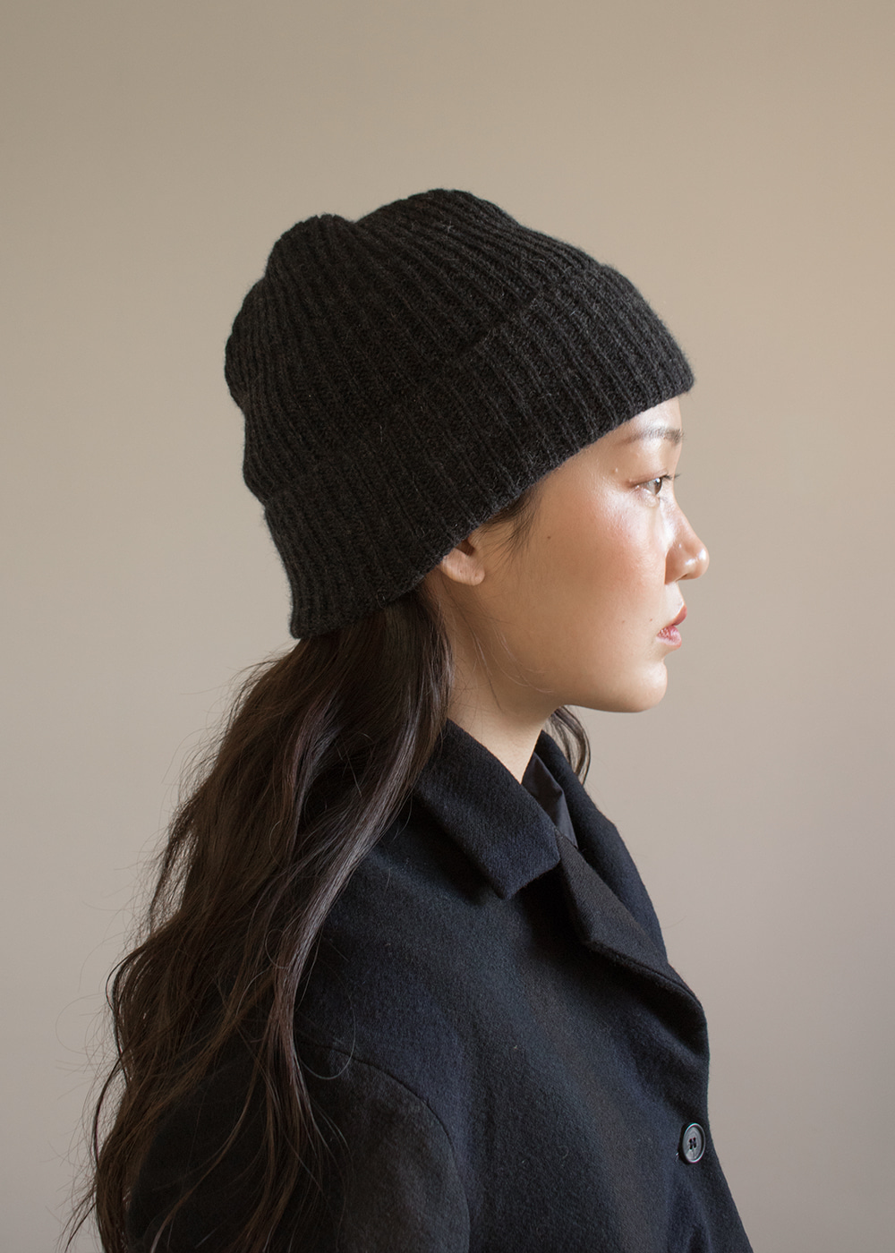 PLEATS KNIT CAP - charcoal