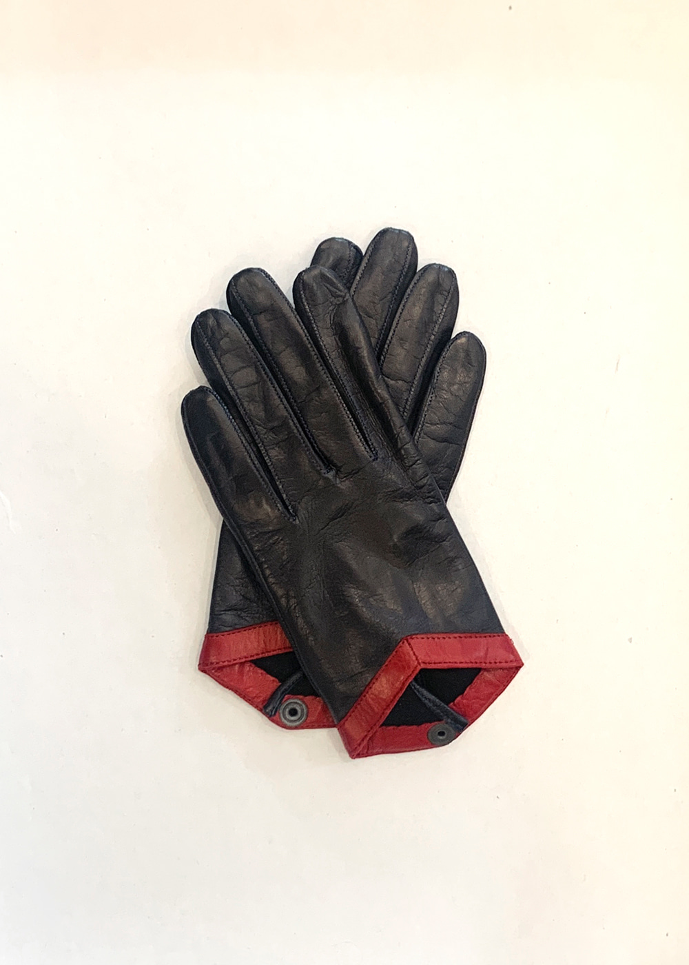 LAMB SKIN LEATHER GLOVES - navy & deep wine