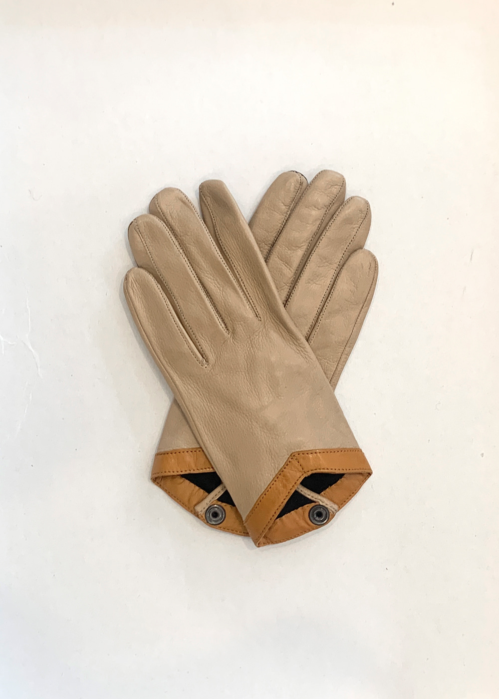 LAMBSKIN LEATHER GLOVES - nude & colonial