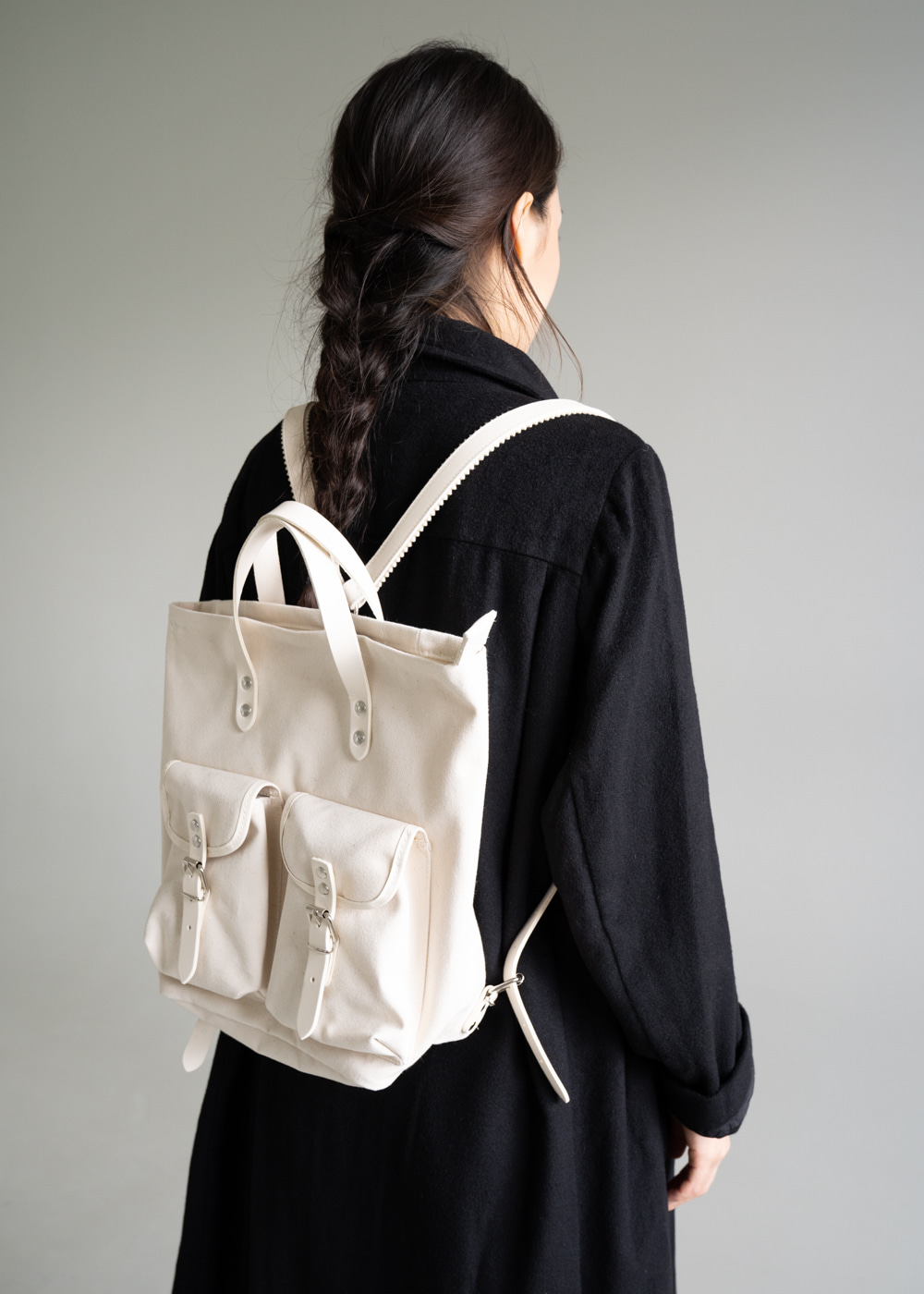 Medium Canvas Rucksack - Chalk