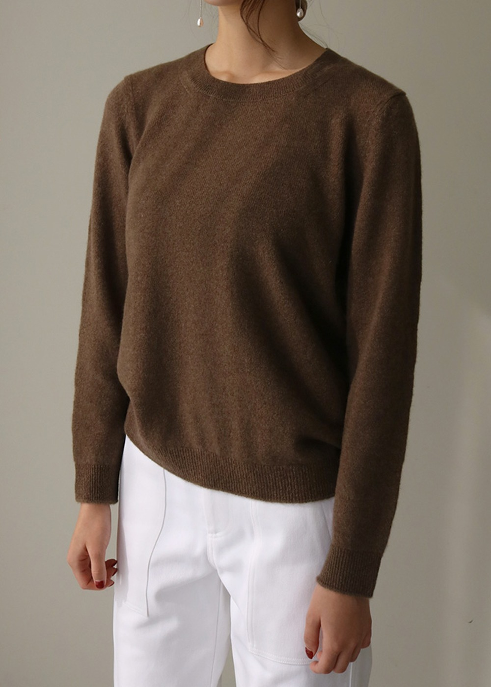 Crew Neck Sweater - Brown