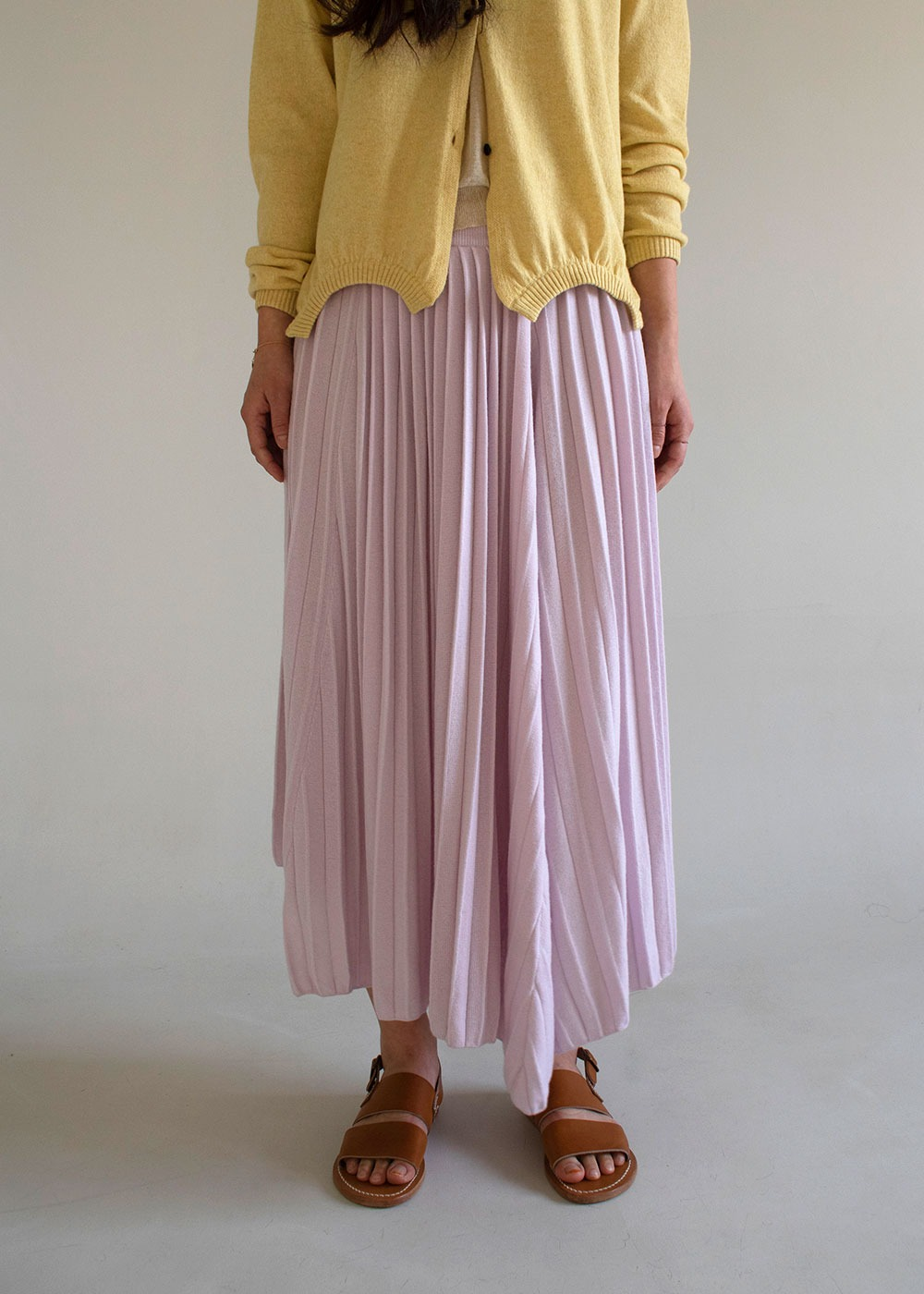 Knitted Pleated Maxi Cashmere Skirt