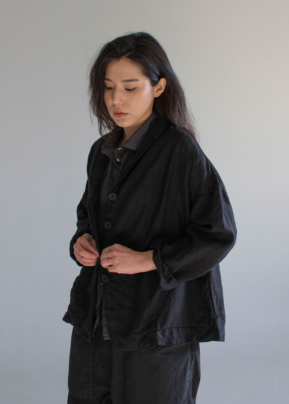Linen Loose Blazer - Black