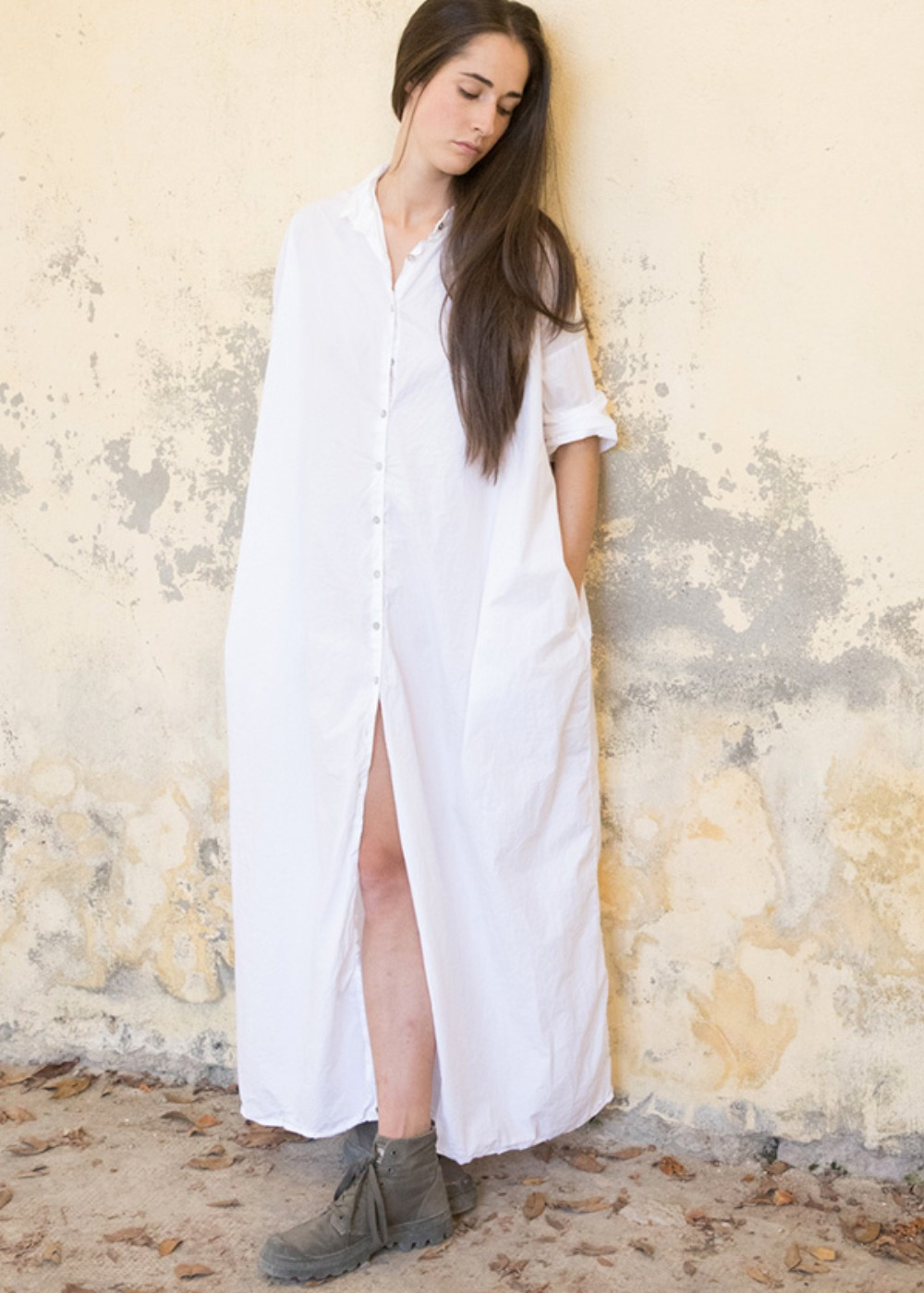 Long Collar Dress TC - Bark / Chalk